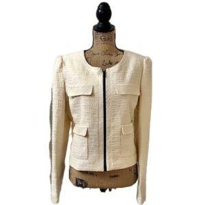 Worthington ivory shimmer zipper blazer